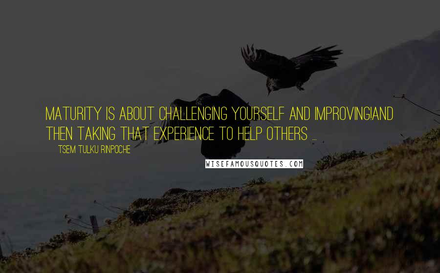 Tsem Tulku Rinpoche quotes: Maturity is about Challenging yourself and Improving!And then taking that experience to help others ...