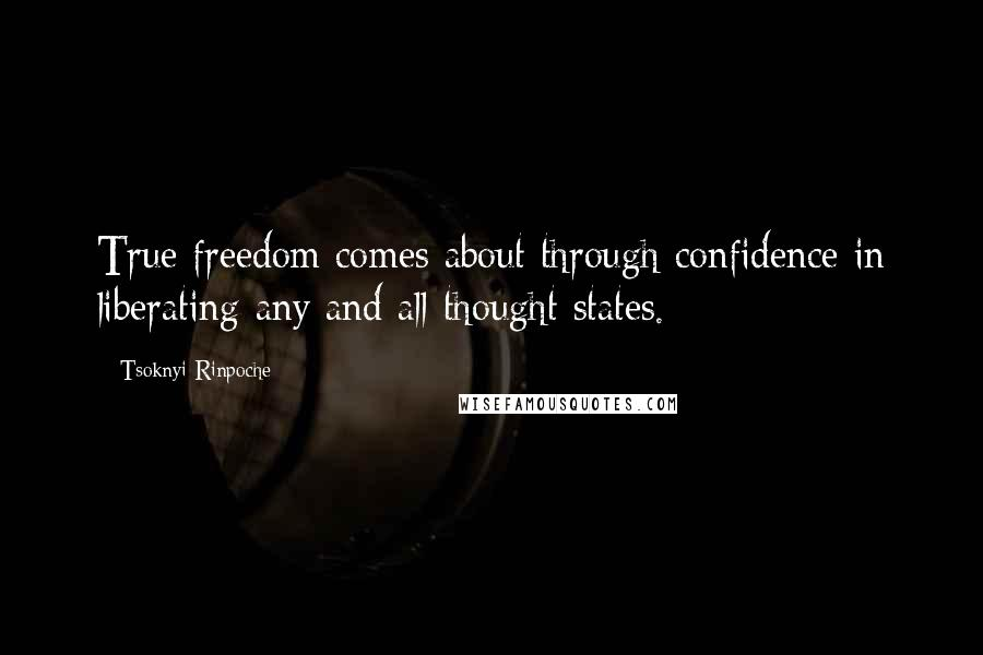 Tsoknyi Rinpoche quotes: True freedom comes about through confidence in liberating any and all thought states.