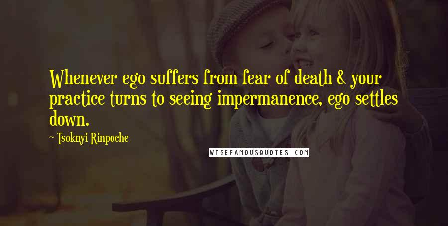 Tsoknyi Rinpoche quotes: Whenever ego suffers from fear of death & your practice turns to seeing impermanence, ego settles down.