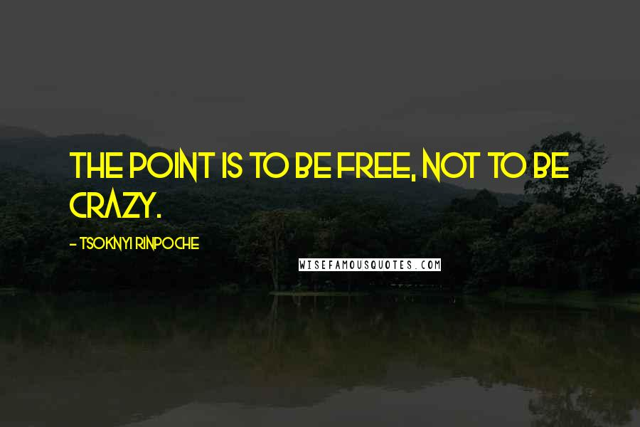 Tsoknyi Rinpoche quotes: The point is to be free, not to be crazy.