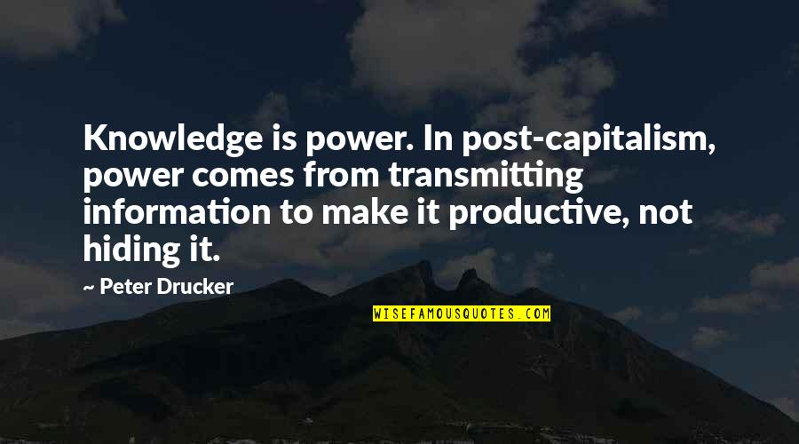 Tsort Quotes By Peter Drucker: Knowledge is power. In post-capitalism, power comes from