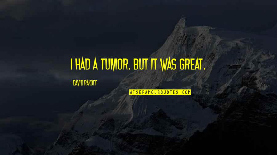 Tumor Quotes By David Rakoff: I had a tumor. But it was great.