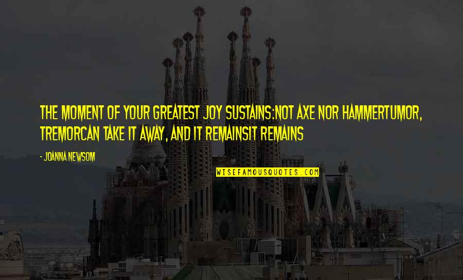 Tumor Quotes By Joanna Newsom: The moment of your greatest joy sustains:Not axe