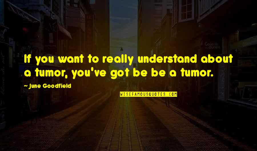Tumor Quotes By June Goodfield: If you want to really understand about a