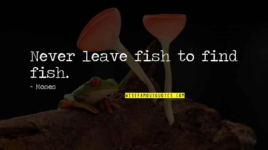 Tunnelled Quotes By Moses: Never leave fish to find fish.