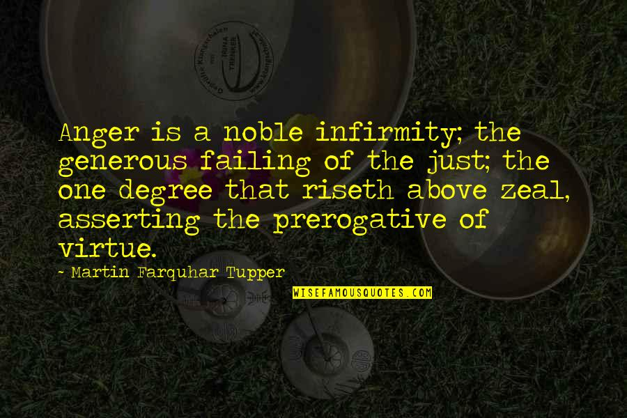 Tupper's Quotes By Martin Farquhar Tupper: Anger is a noble infirmity; the generous failing