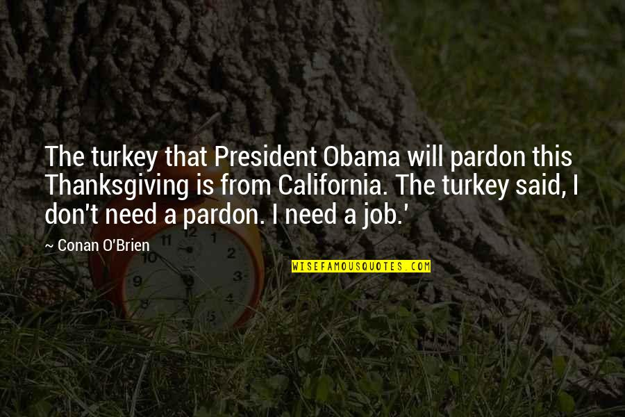 Turkey On Thanksgiving Quotes By Conan O'Brien: The turkey that President Obama will pardon this