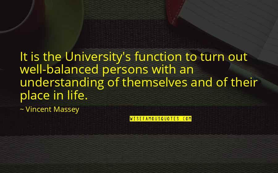 Turns In Life Quotes By Vincent Massey: It is the University's function to turn out