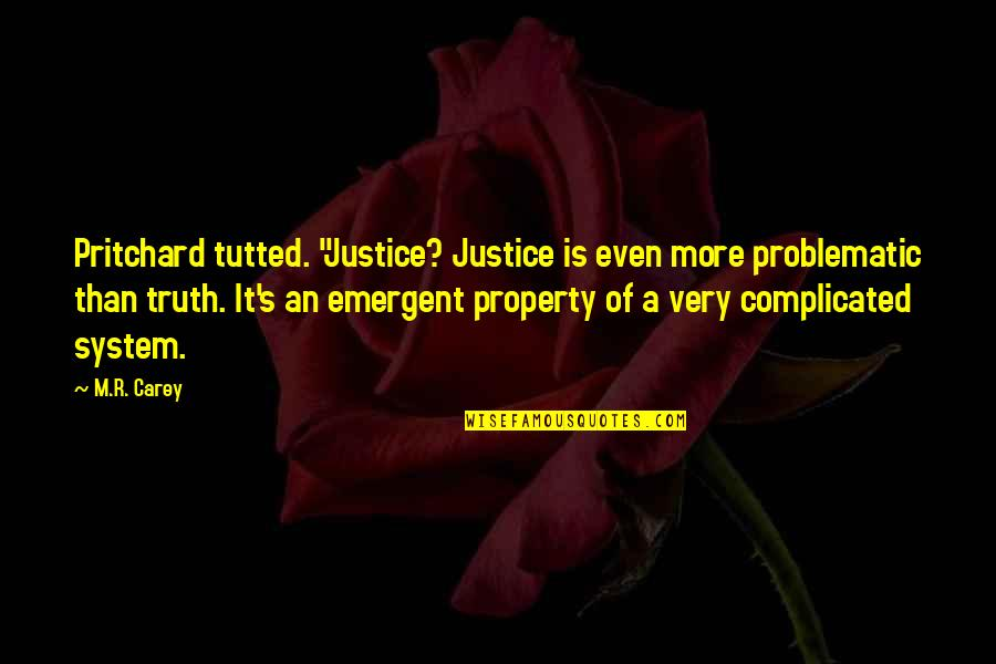 """Tutted Quotes By M.R. Carey: Pritchard tutted. """"Justice? Justice is even more problematic"""