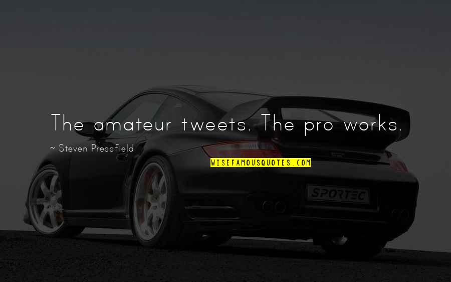Tweets Quotes By Steven Pressfield: The amateur tweets. The pro works.