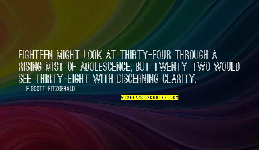 Twenty Four Quotes By F Scott Fitzgerald: Eighteen might look at thirty-four through a rising