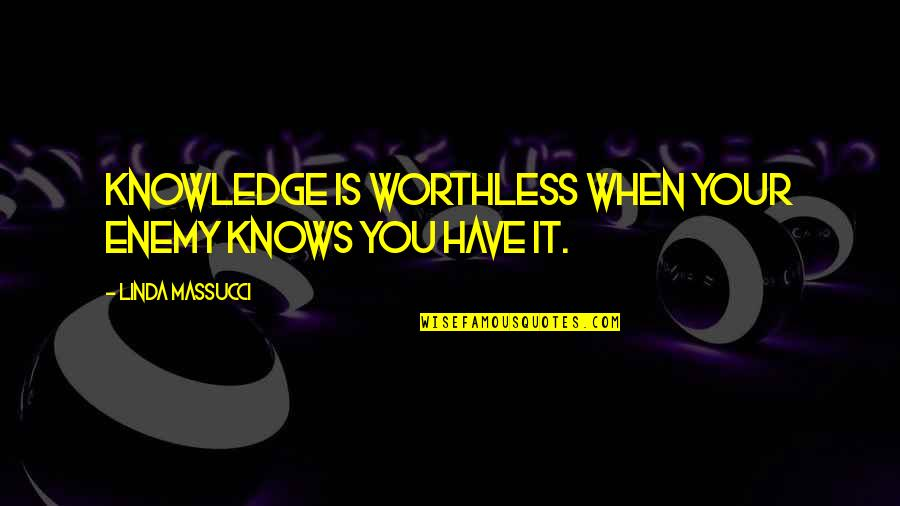 Twins Brother Birthday Quotes By Linda Massucci: Knowledge is worthless when your enemy knows you