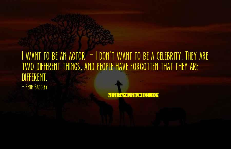 Two Different Things Quotes By Penn Badgley: I want to be an actor - I