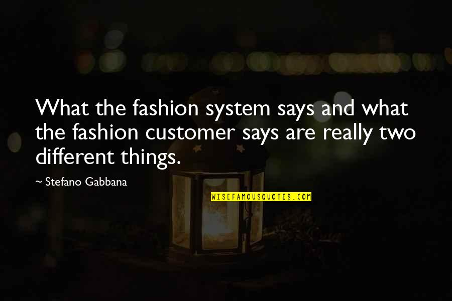 Two Different Things Quotes By Stefano Gabbana: What the fashion system says and what the