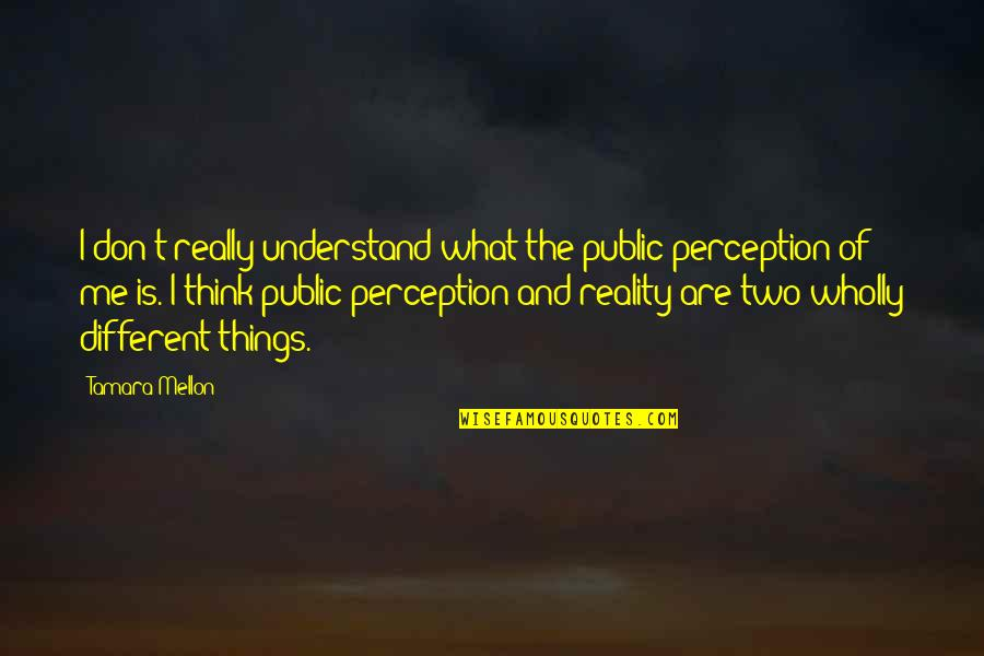 Two Different Things Quotes By Tamara Mellon: I don't really understand what the public perception