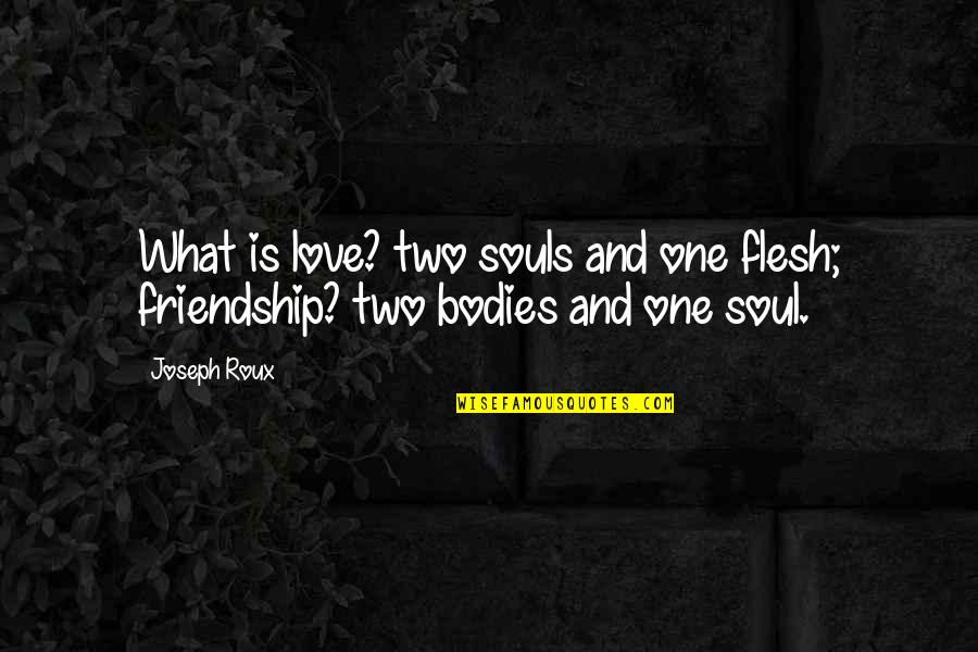 Two Souls In Love Quotes By Joseph Roux: What is love? two souls and one flesh;
