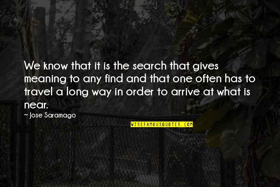 Typicality Quotes By Jose Saramago: We know that it is the search that