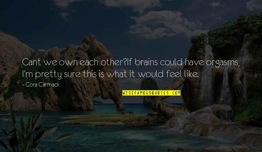 U Cant Have It All Quotes By Cora Carmack: Cant we own each other?If brains could have