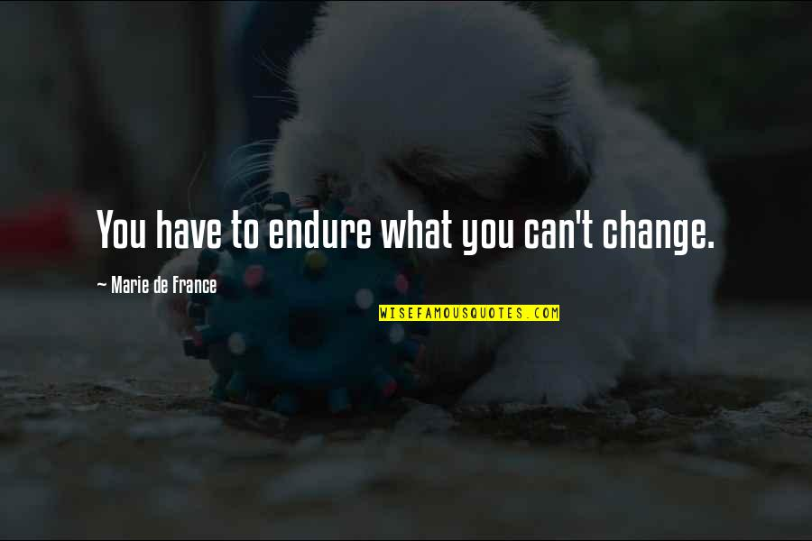 U Cant Have It All Quotes By Marie De France: You have to endure what you can't change.