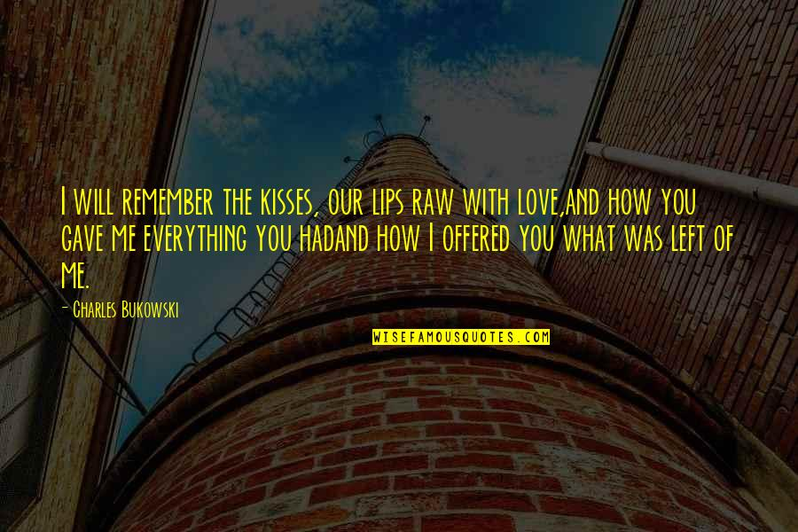 U Gave Me Everything Quotes By Charles Bukowski: I will remember the kisses, our lips raw