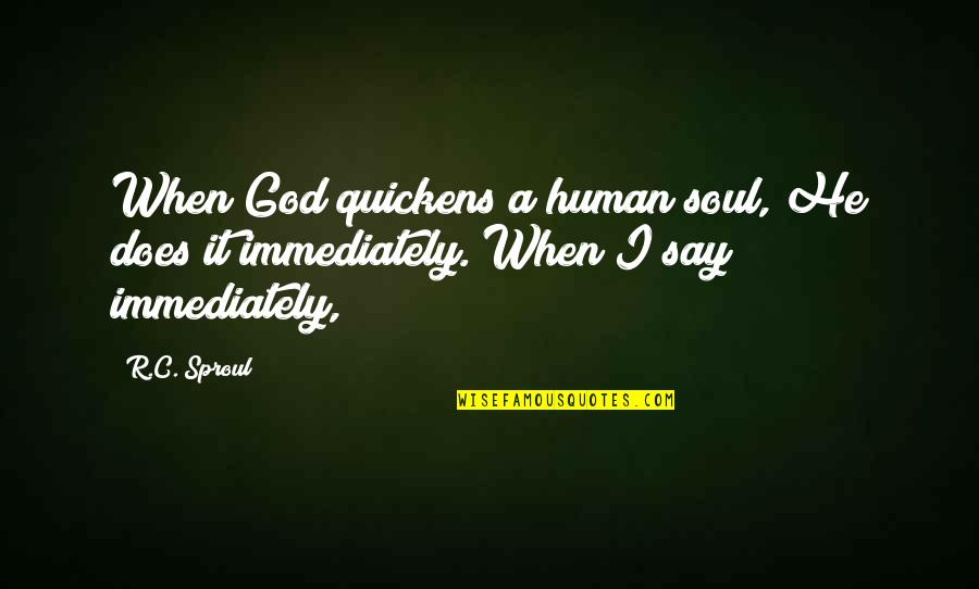 Ugly Pictures Quotes By R.C. Sproul: When God quickens a human soul, He does
