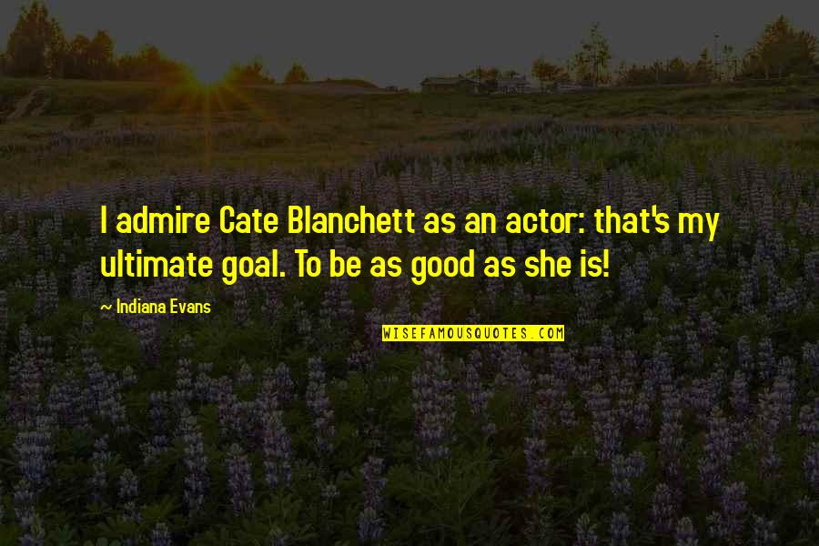 Ultimate Goal Quotes By Indiana Evans: I admire Cate Blanchett as an actor: that's
