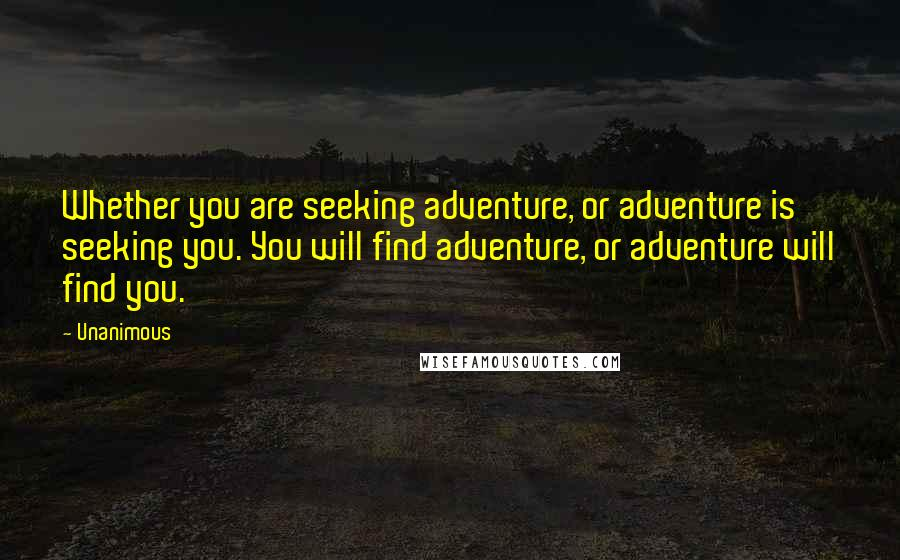 Unanimous quotes: Whether you are seeking adventure, or adventure is seeking you. You will find adventure, or adventure will find you.