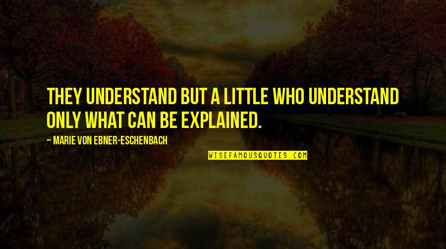 Unavenged Quotes By Marie Von Ebner-Eschenbach: They understand but a little who understand only