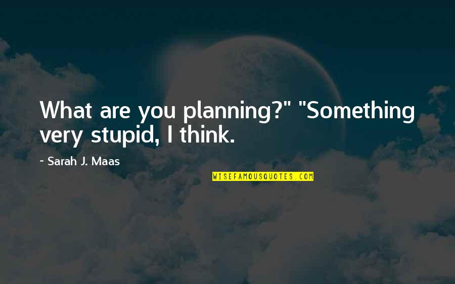"Uncaring Person Quotes By Sarah J. Maas: What are you planning?"" ""Something very stupid, I"