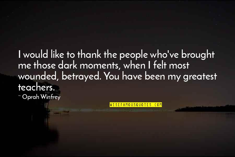 Unclue'd Quotes By Oprah Winfrey: I would like to thank the people who've