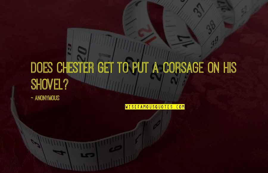 Uncompetitive Quotes By Anonymous: Does Chester get to put a corsage on