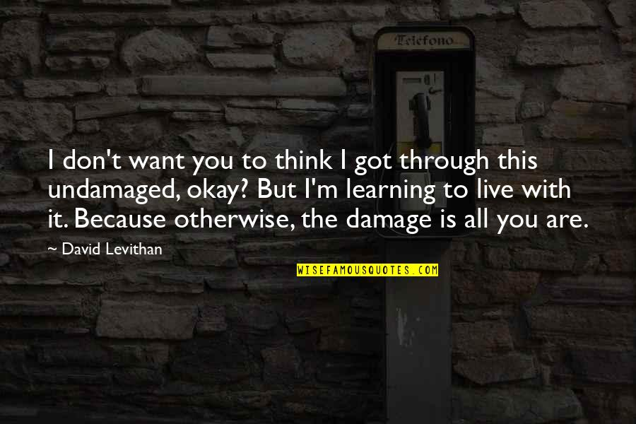 Undamaged Quotes By David Levithan: I don't want you to think I got