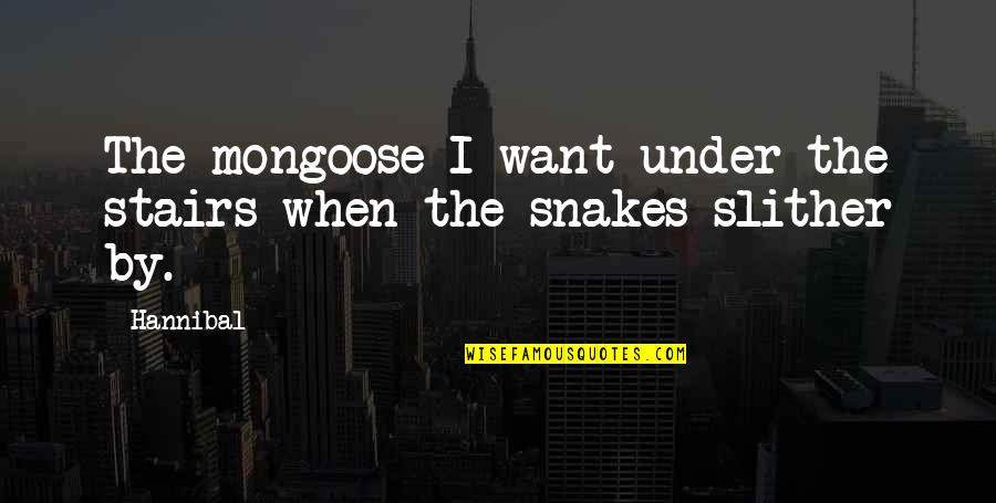 Under The Stairs Quotes By Hannibal: The mongoose I want under the stairs when