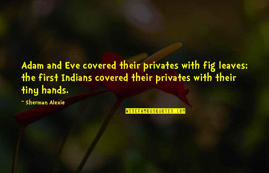 Undercover Economist Quotes By Sherman Alexie: Adam and Eve covered their privates with fig