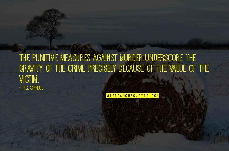 Underscore Quotes By R.C. Sproul: The punitive measures against murder underscore the gravity