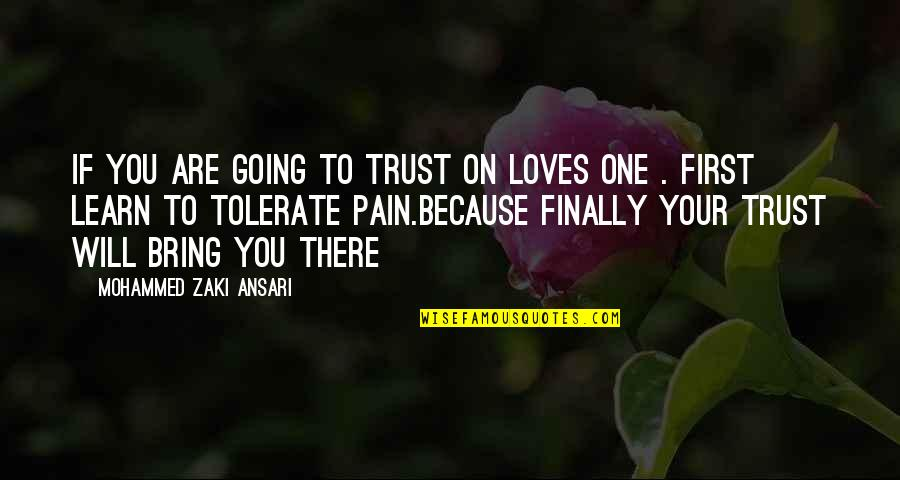 Underself Quotes By Mohammed Zaki Ansari: If you are going to trust on loves