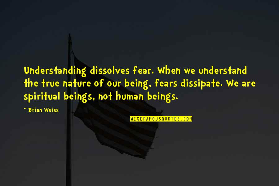 Understanding Human Nature Quotes By Brian Weiss: Understanding dissolves fear. When we understand the true