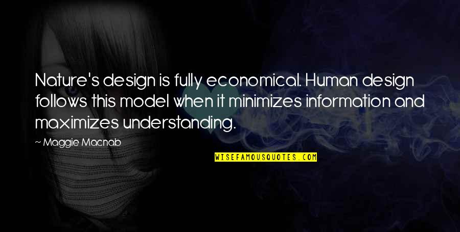 Understanding Human Nature Quotes By Maggie Macnab: Nature's design is fully economical. Human design follows