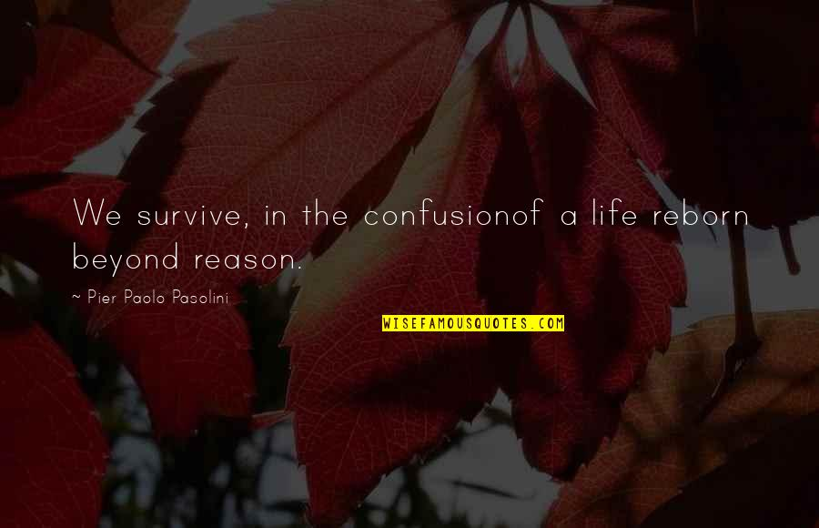 Understanding Human Nature Quotes By Pier Paolo Pasolini: We survive, in the confusionof a life reborn