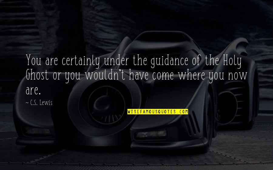 Under't Quotes By C.S. Lewis: You are certainly under the guidance of the