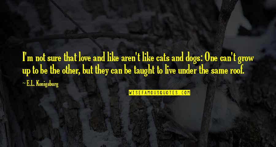 Under't Quotes By E.L. Konigsburg: I'm not sure that love and like aren't