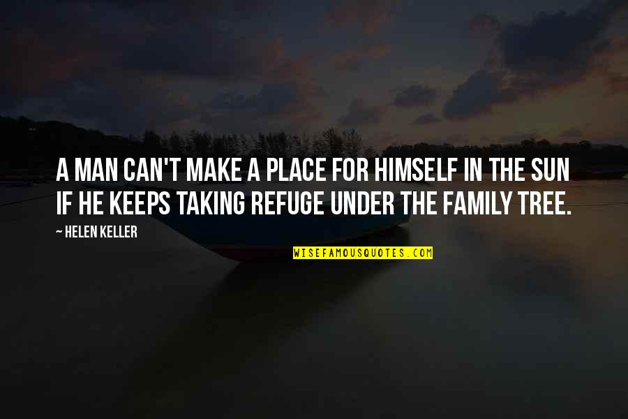 Under't Quotes By Helen Keller: A man can't make a place for himself