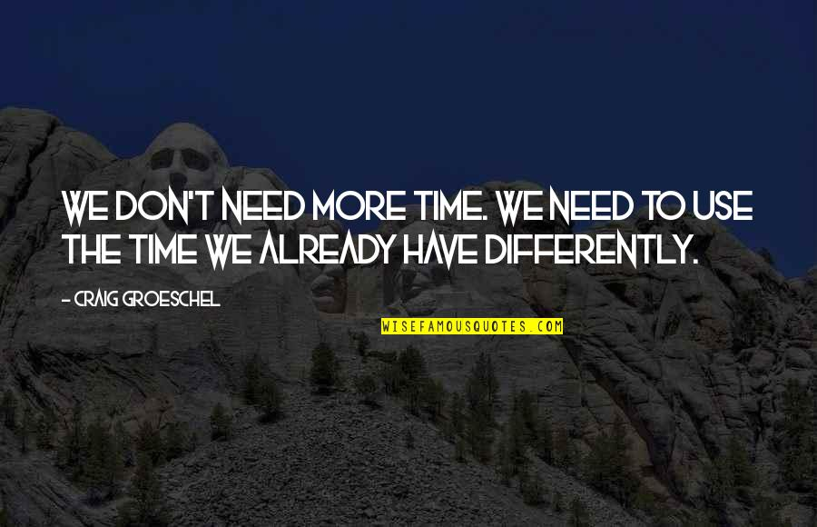 Undiscriminatingly Quotes By Craig Groeschel: We don't need more time. We need to