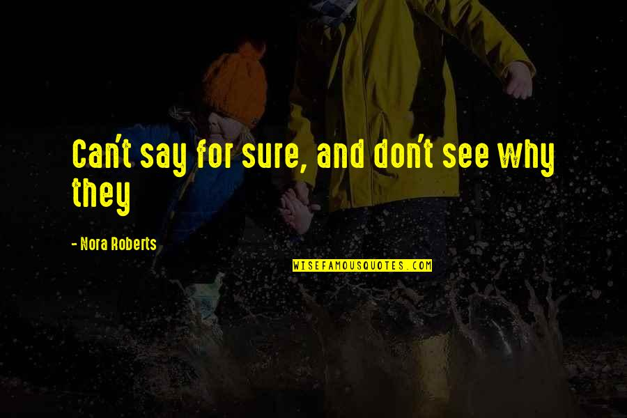 Unemotional Quotes By Nora Roberts: Can't say for sure, and don't see why