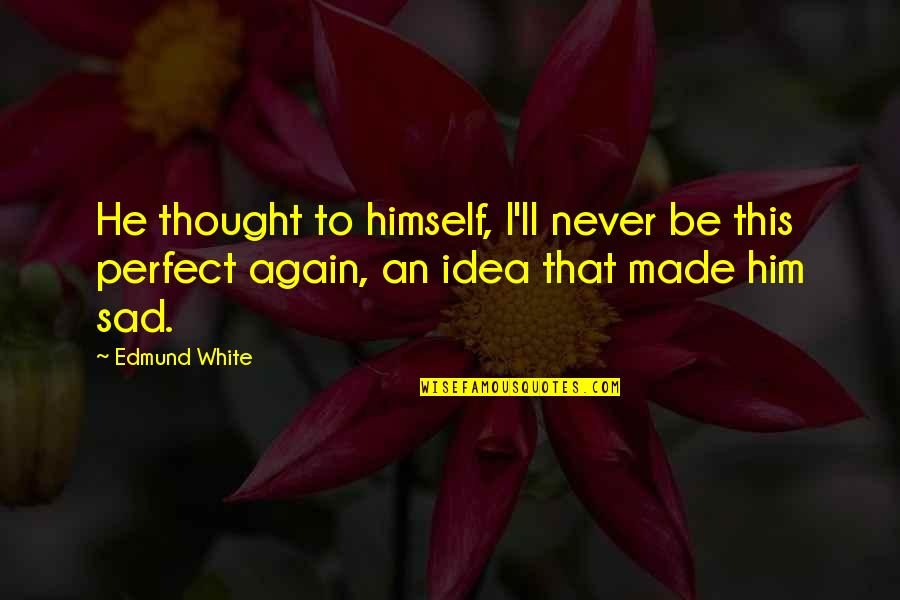 Unexpected Incident Quotes By Edmund White: He thought to himself, I'll never be this