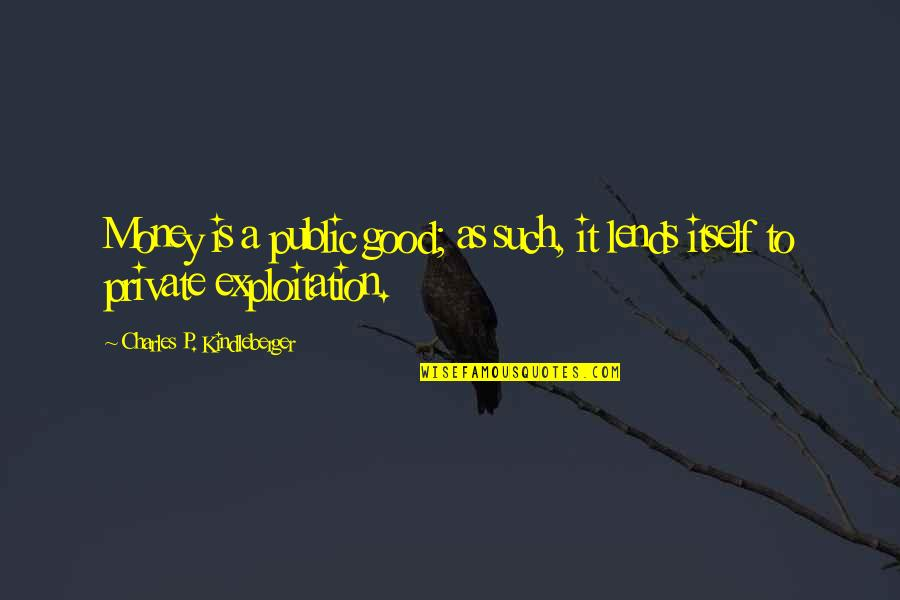 Unexplored Territory Quotes By Charles P. Kindleberger: Money is a public good; as such, it