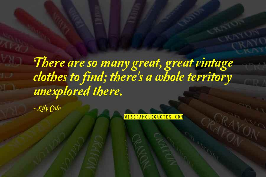 Unexplored Territory Quotes By Lily Cole: There are so many great, great vintage clothes