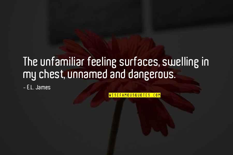 Unfamiliar Quotes By E.L. James: The unfamiliar feeling surfaces, swelling in my chest,