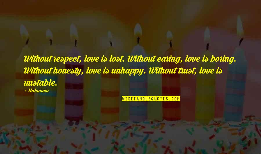 Unhappy In Love Quotes By Unknown: Without respect, love is lost. Without caring, love