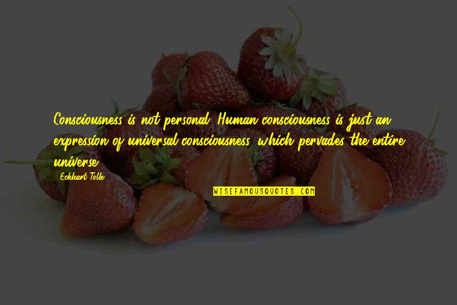 Universal Consciousness Quotes By Eckhart Tolle: Consciousness is not personal. Human consciousness is just